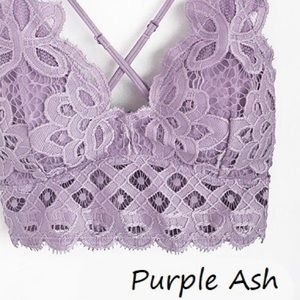 NEW Free Boho Floral Anemone Purple Lace Bralette
